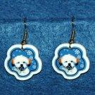 Lhasa Apso Puppy Jewelry Christmas Snowflake Earrings Handmade