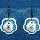 Maltese Dog Christmas Snowflake Earrings Jewelry Handmade