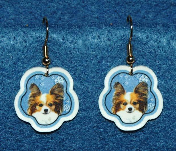 Papillon Dog Christmas Snowflake Earrings Handmade