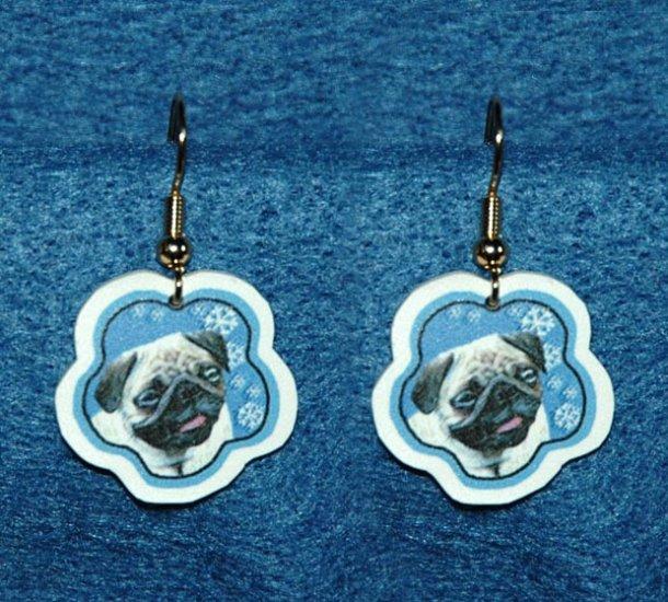Pug Dog Jewelry Christmas Snowflake Earrings Handmade