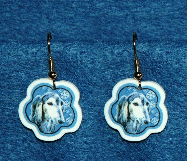 Saluki Dog Jewelry Christmas Snowflake Earrings Handmade