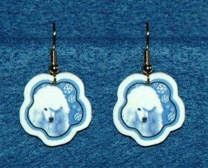 Standard Poodle Dog Jewelry Christmas Snowflake Earrings Handmade