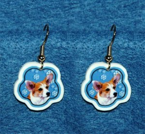 Welch Corgi Jewelry Christmas Snowflake Earrings Handmade
