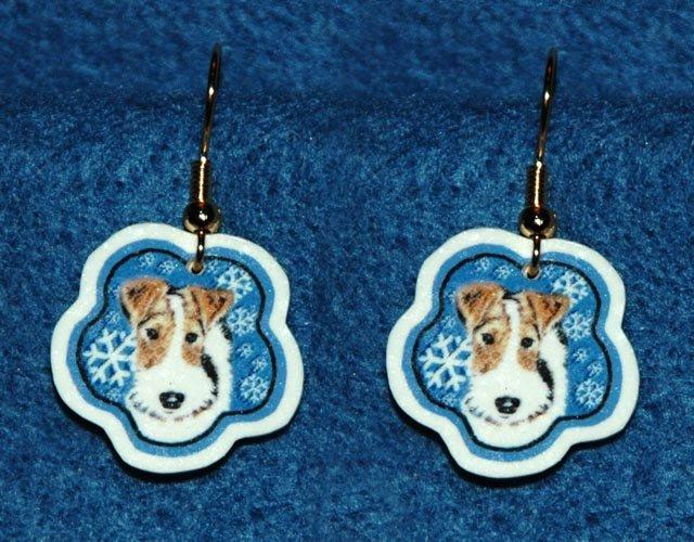 Wire Fox Terrier Wired Hair Dog Christmas Snowflake Earrings Handmade