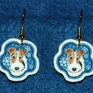Wire Fox Terrier Wired Hair Dog Christmas Snowflake Earrings Handmade