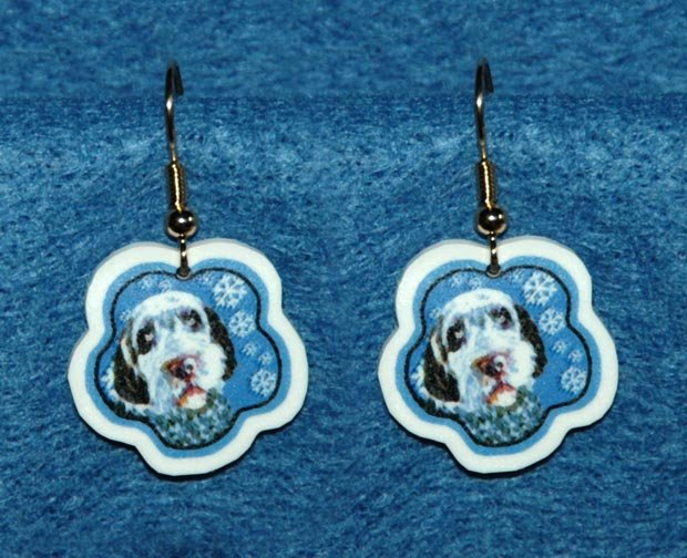 Wirehaired Pointing Griffon Jewelry Christmas Snowflake Earrings Handmade