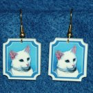 White Cat Earrings Jewelry Handmade