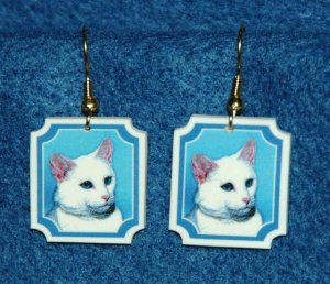White Cat Earrings Jewelry Handmade