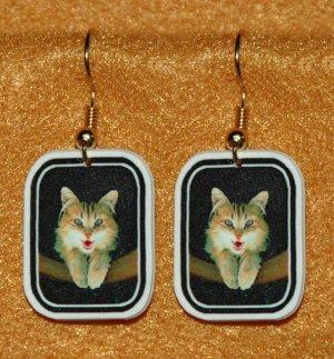 Yellow Mad Cat Earrings Handmade Jewelry