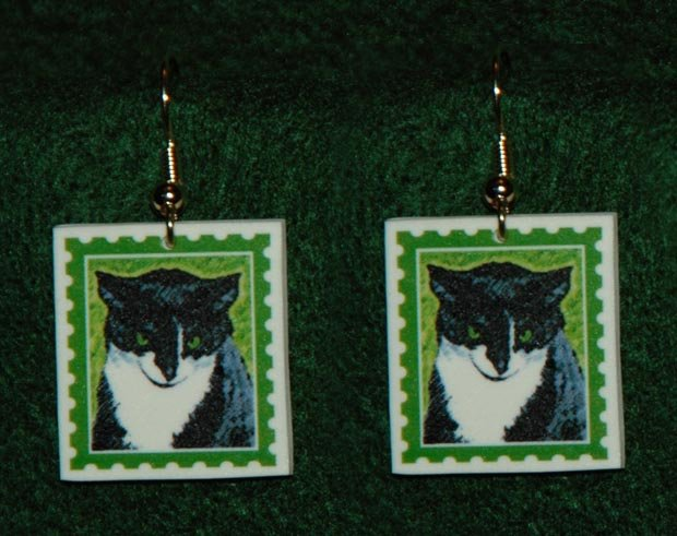 Black & White Tuxedo Cat Earrings Jewelry Handmade