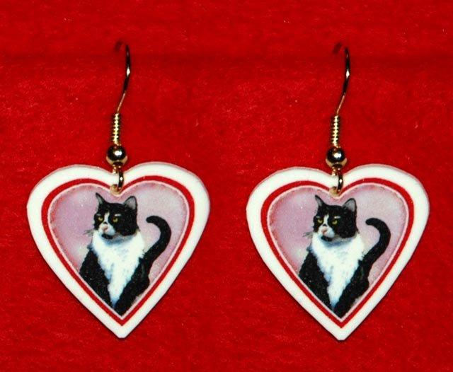 Black & White Tuxedo Cat Heart Earrings Jewelry