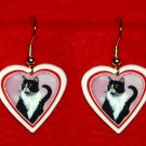 Black & White Tuxedo Cat Heart Earrings Jewelry