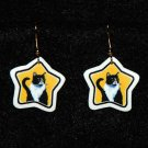 Black & White Tuxedo Cat Star Earrings Jewelry