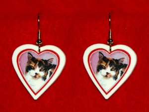 Calico Cat Heart Valentine Earrings Handmade