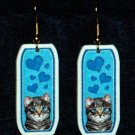 Gray Cat Kitten Jewelry Earrings Handmade
