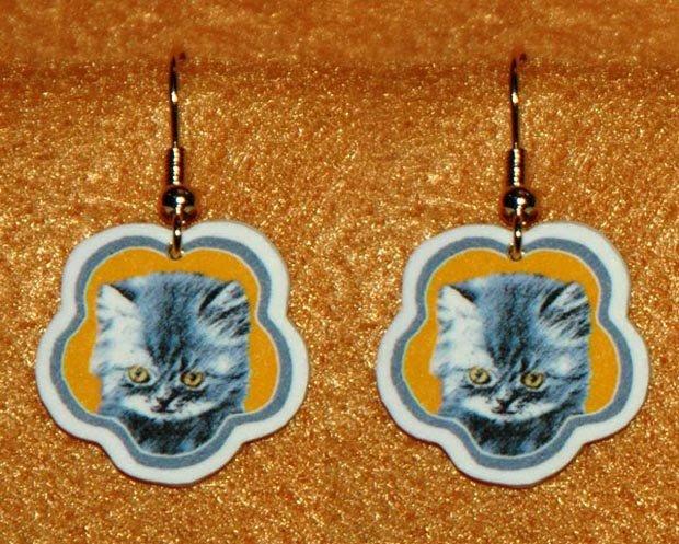 Gray Kitten Cat Earrings Jewelry Handmade