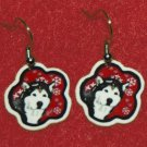 Alaskan Malamute Red Snowflakes Earrings Jewelry