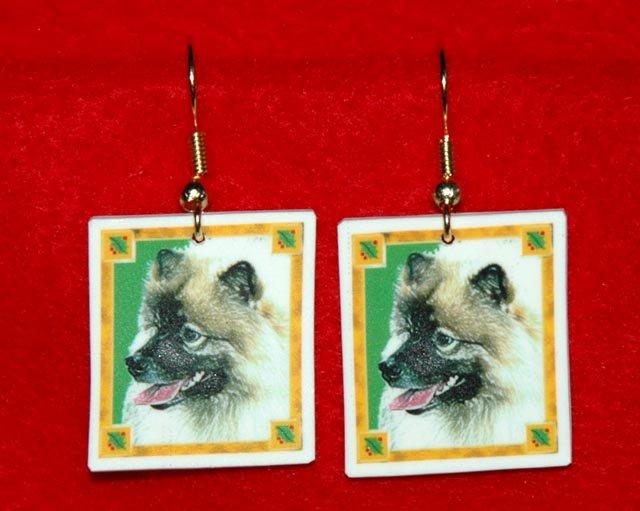 Keeshond Christmas Holiday Earrings Jewelry