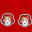Wire Fox Terrier Red Snowflakes Christmas Earrings Handmade