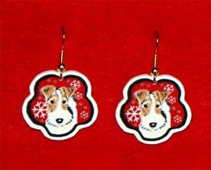 Wire Fox Terrier Red Snowflakes Christmas Earrings Handmade