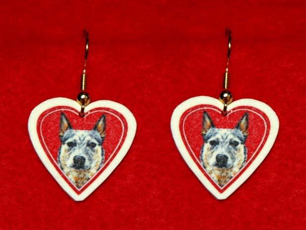 Australian Cattle Dog Heart Jewelry Earrings Handmade