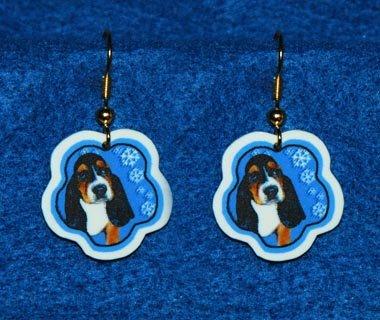 Basset Hound Puppy Dog Christmas Snowflake Earrings Jewelry Handmade