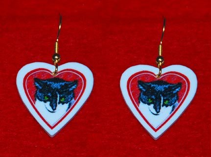 Black & White Tuxedo Cat Heart Valentine Earrings Jewelry Handmade