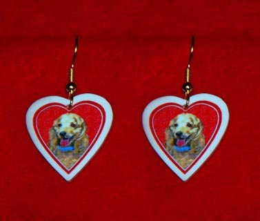 Cocker Spaniel Dog Buff Heart Earrings Jewelry Handmade