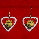 Norwich Terrier Heart Valentine Earrings Jewelry