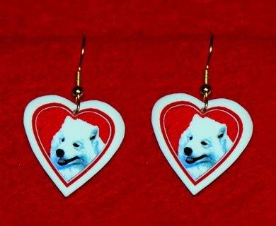 Samoyed Heart Valentine Earrings Handmade