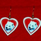 Samoyed Heart Valentine Earrings Handmade