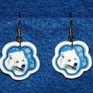 Samoyed Christmas Snowflake Earrings Handmade