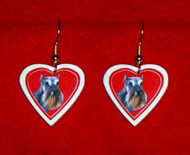 Schnauzer Dog Heart Jewelry Earrings Handmade