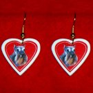Schnauzer Dog Heart Jewelry Earrings Handmade