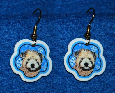 Soft Coated Wheaten Terrier Puppy Christmas Snowflake Earrings Handmade