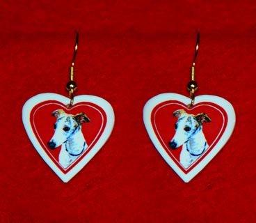 Whippet Heart Valentine Jewelry Earrings Handmade
