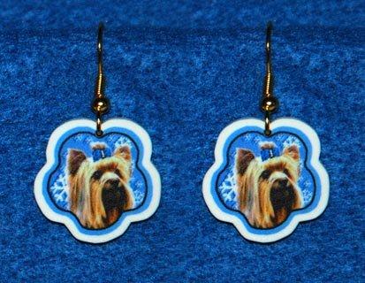 Yorkshire Terrier Jewelry Christmas Snowflake Earrings Handmade