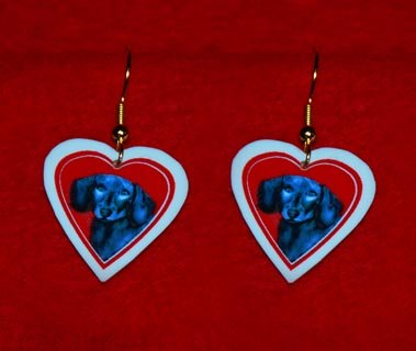 Black Dachshund Valentine Heart Earrings - Handmade