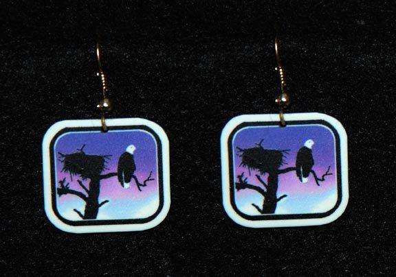 Bald Eagle Sunset Earrings -  Handmade