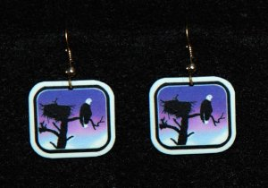 Bald Eagle Sunset Earrings -  Handmade