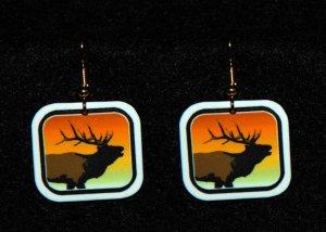 Elk Sunset Earrings - Handmade
