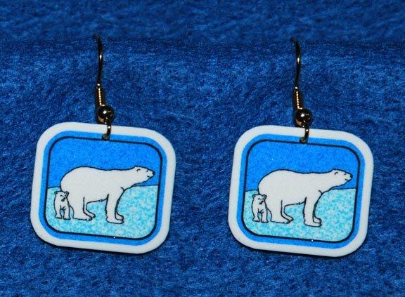 Polar Bear and Cub Earrings - Handmade