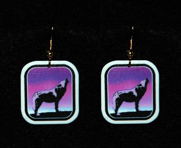 Howling Wolf Sunset Earrings - Handmade
