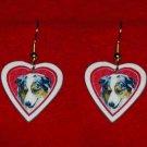 Australian Shepherd Heart Valentine Earrings Jewelry