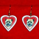 Cairn Terrier Heart Valentine Earrings Jewelry