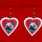 French Bulldog Frenchie Heart Jewelry Earrings Handmade
