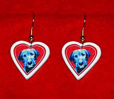 Irish Wolfhound Puppy Dog Heart Jewelry Earrings Handmade