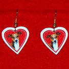 Italian Greyhound Valentine Heart Earrings - Handmade