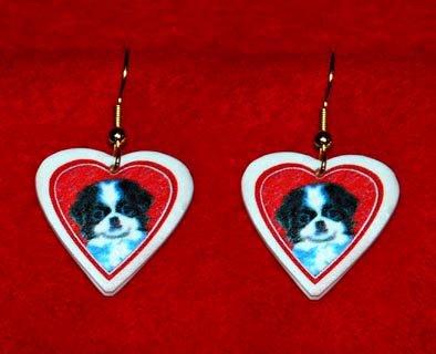 Japanese Chin Puppy Dog Heart Earrings Jewelry