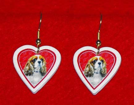 Cavalier King Charles Spaniel Heart Valentine Jewelry Earrings